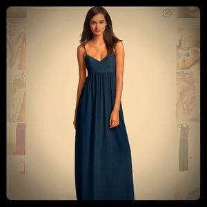 NWOT Amanda Uprichard Navy Silk Maxi Dress: Rare!